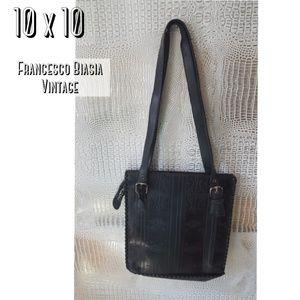 Francesco Biasia black leather embossed bag vintag